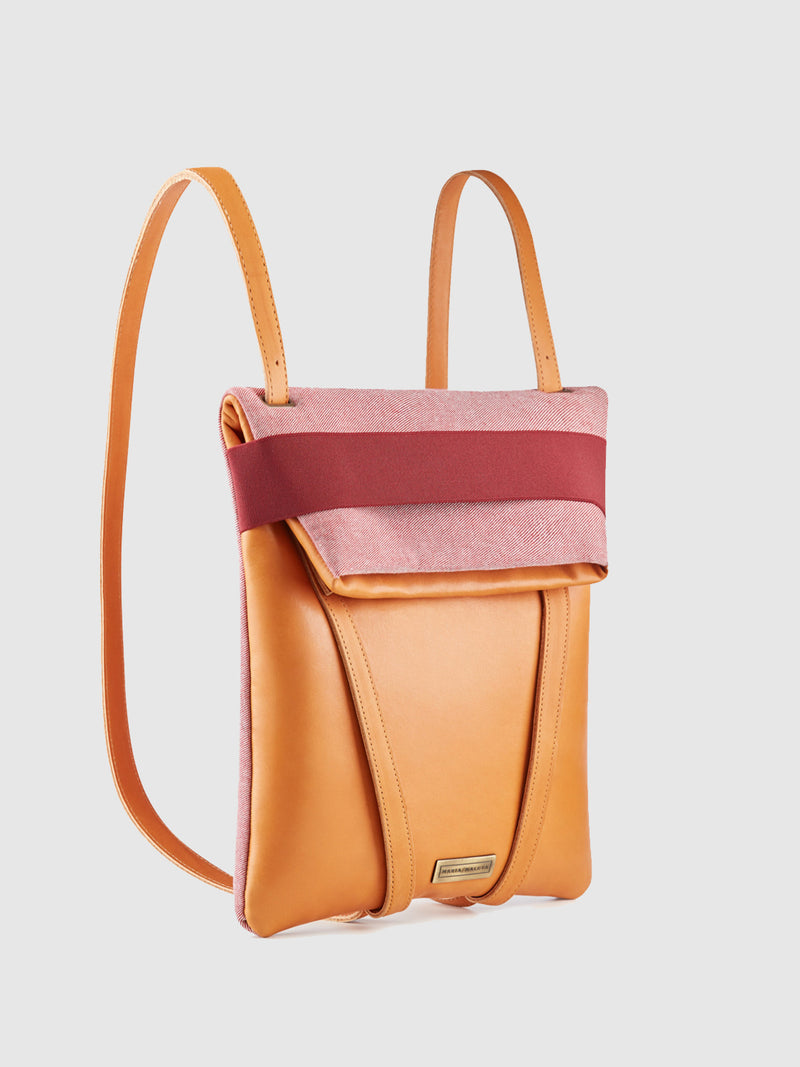 Maria Maleta Camel and Pale Pink Reversible Backpack