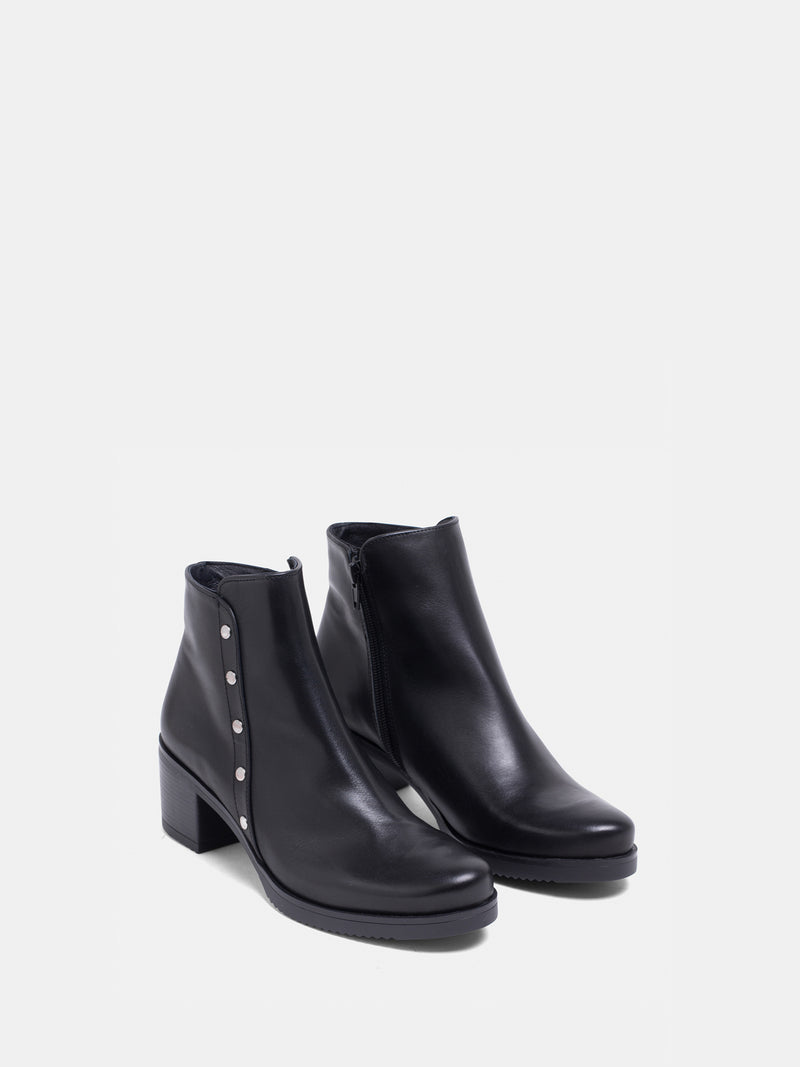 MARILA SHOES Black Round Toe Ankle Boots
