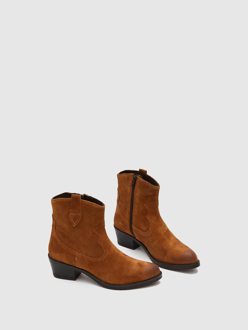 Marila Shoes Brown Leather Round Toe Boots