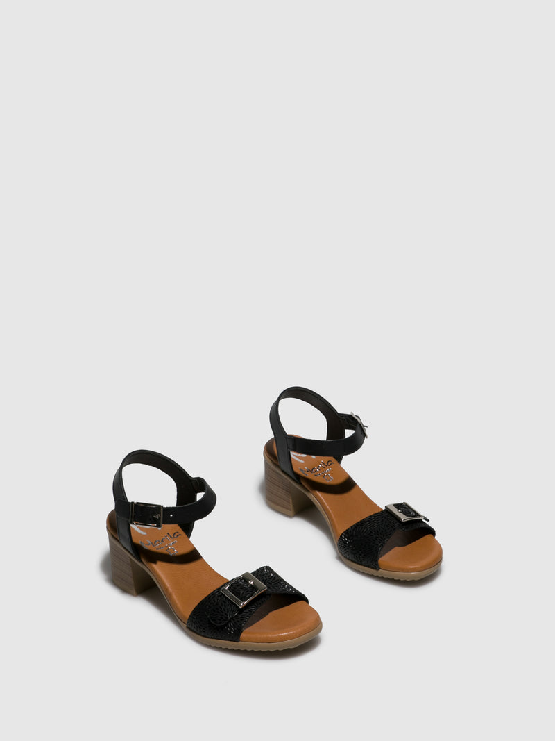 Marila Shoes Black Buckle Sandals