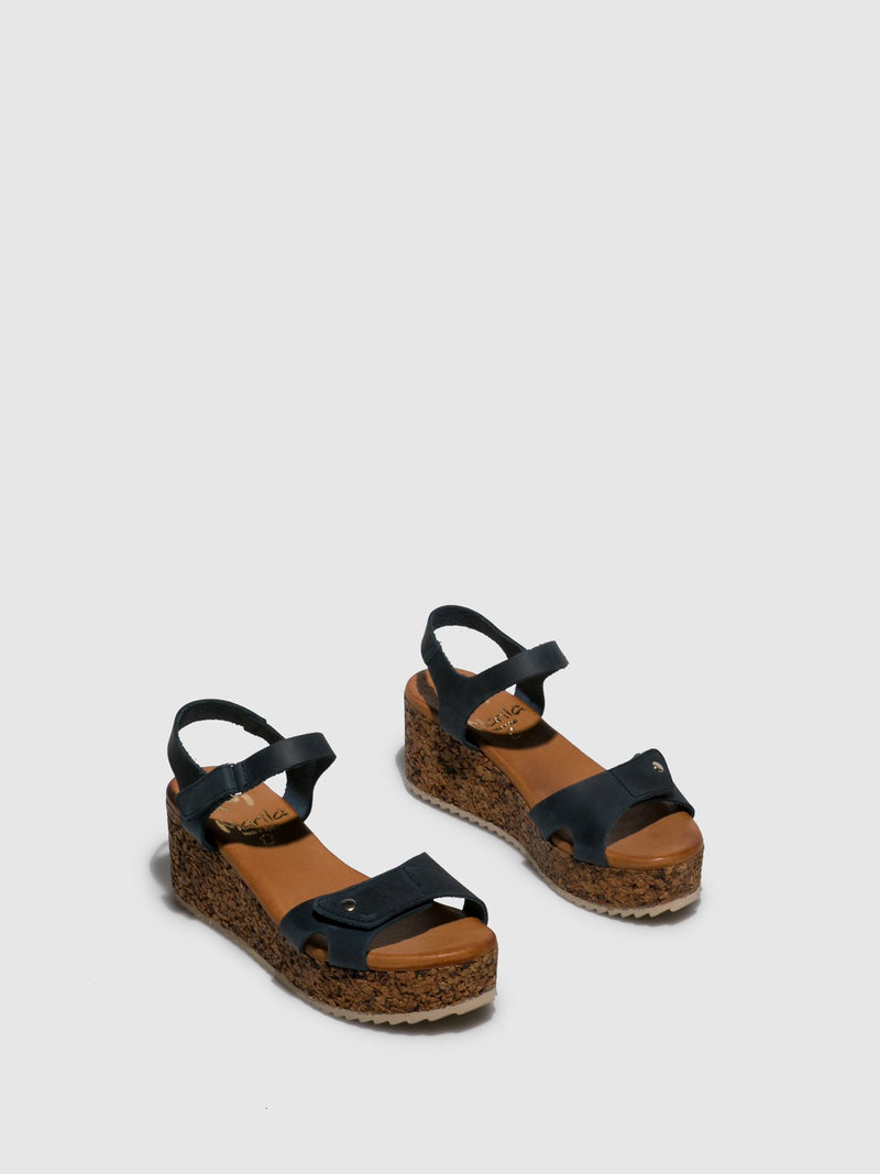 Marila Shoes Navy Wedge Sandals