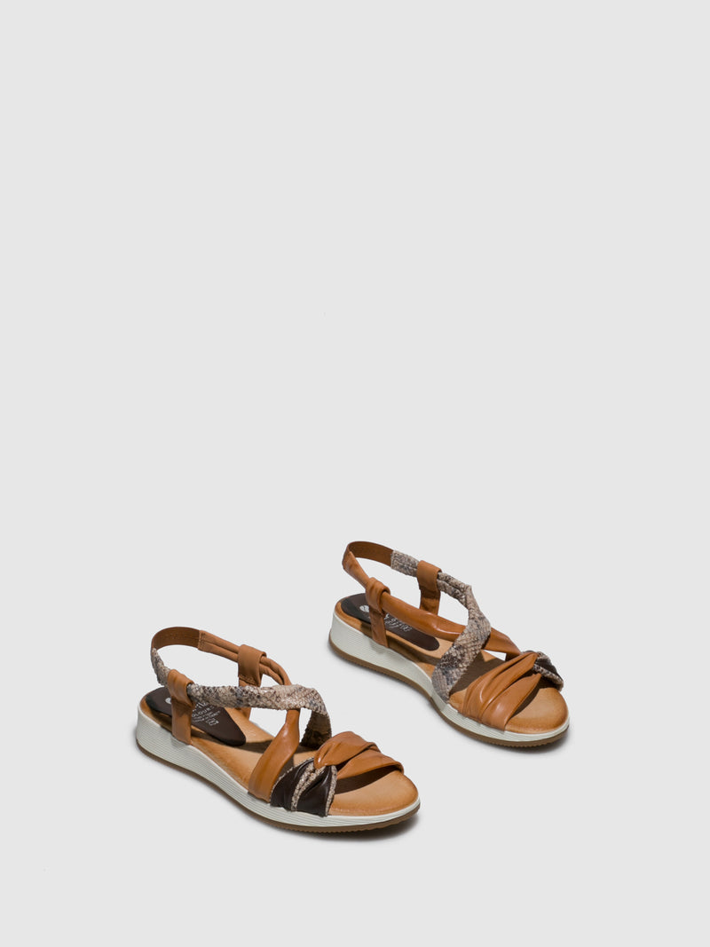 Marila Shoes Brown Leather Crossover Sandals