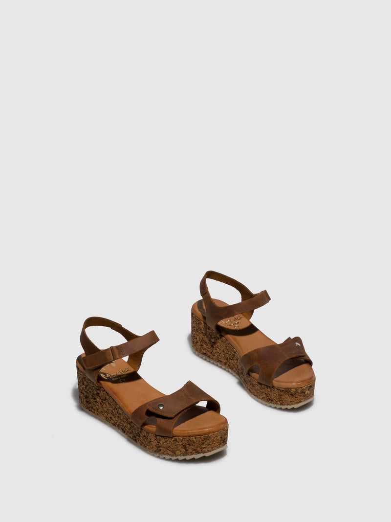 Marila Shoes Brown Leather Wedge Sandals