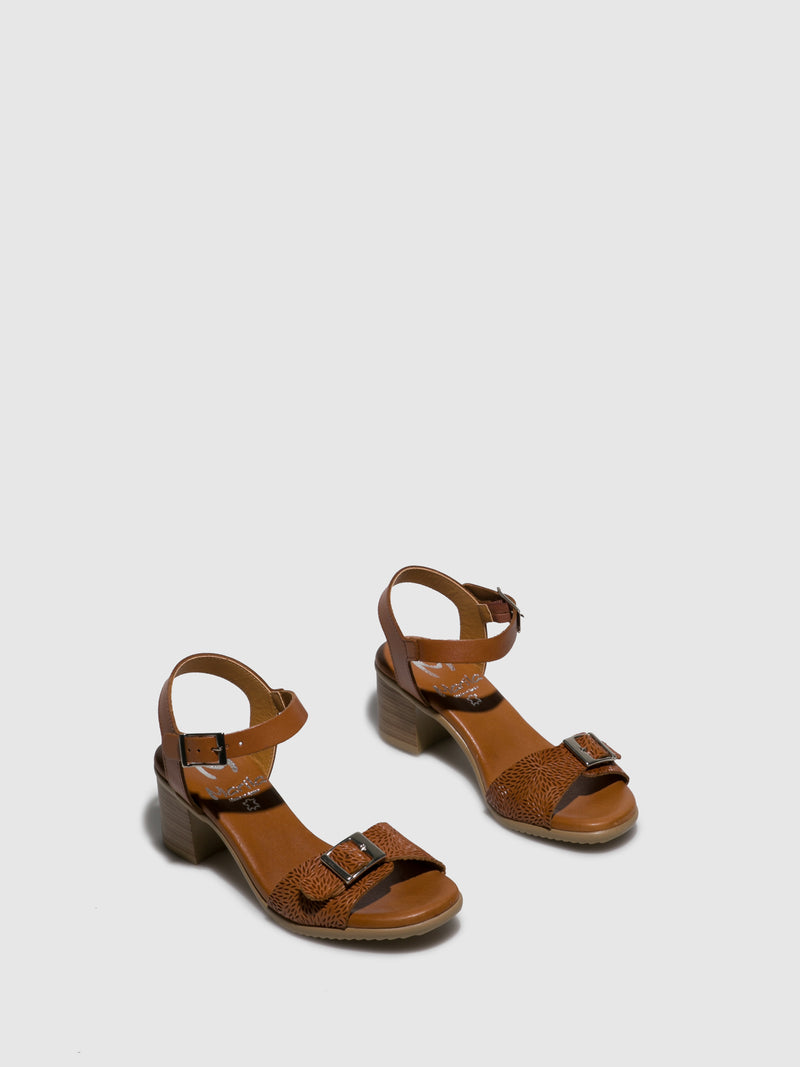 Marila Shoes Brown Leather Buckle Sandals