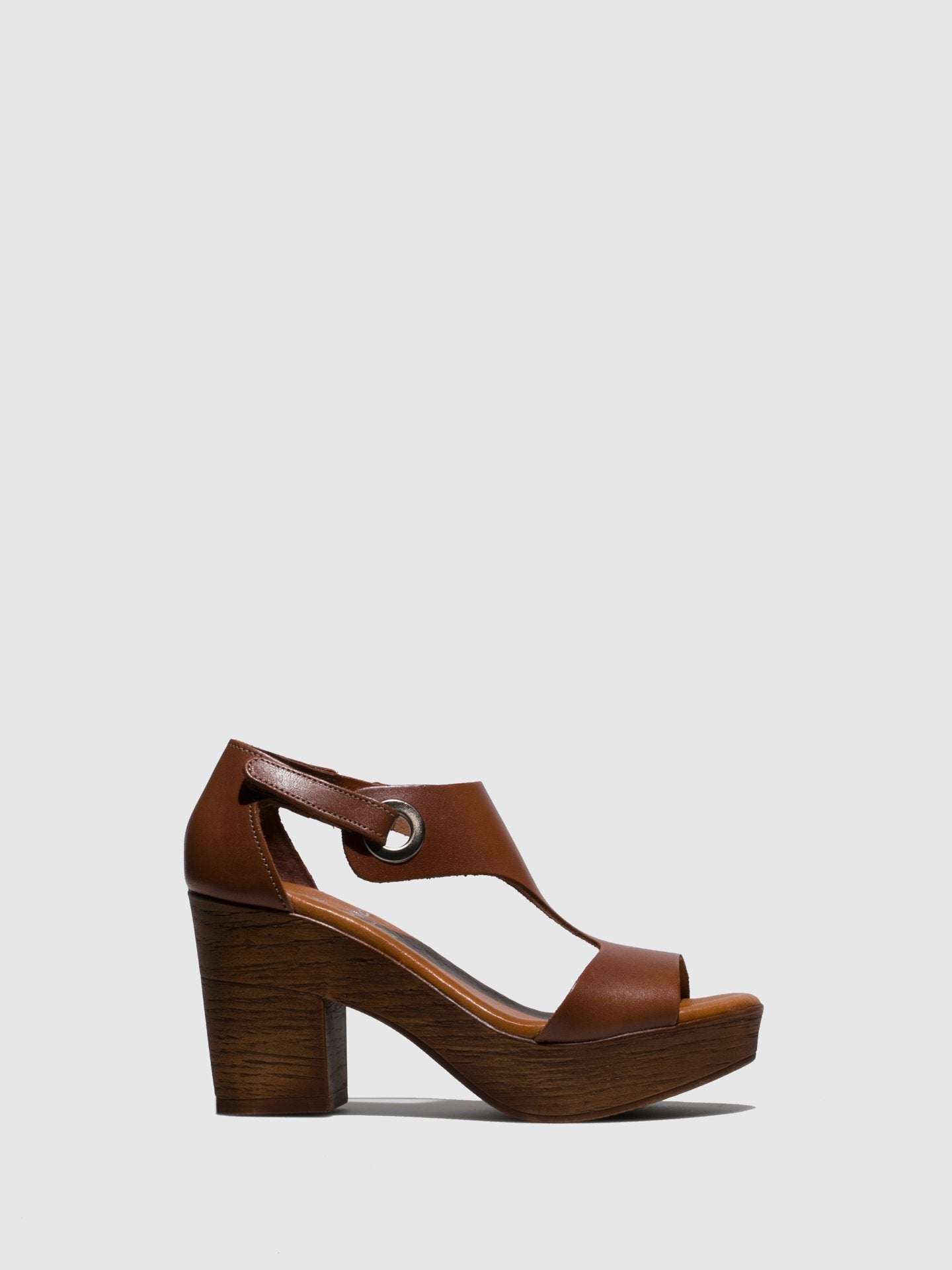 Marila Shoes Brown Leather Sling-Back Sandals