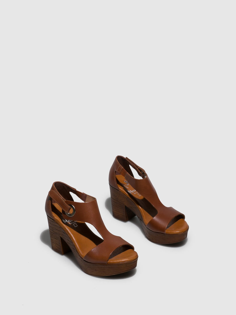 Brown Leather Sling-Back Sandals