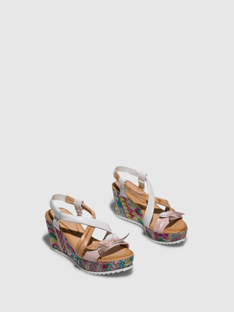 Pink White Wedge Sandals