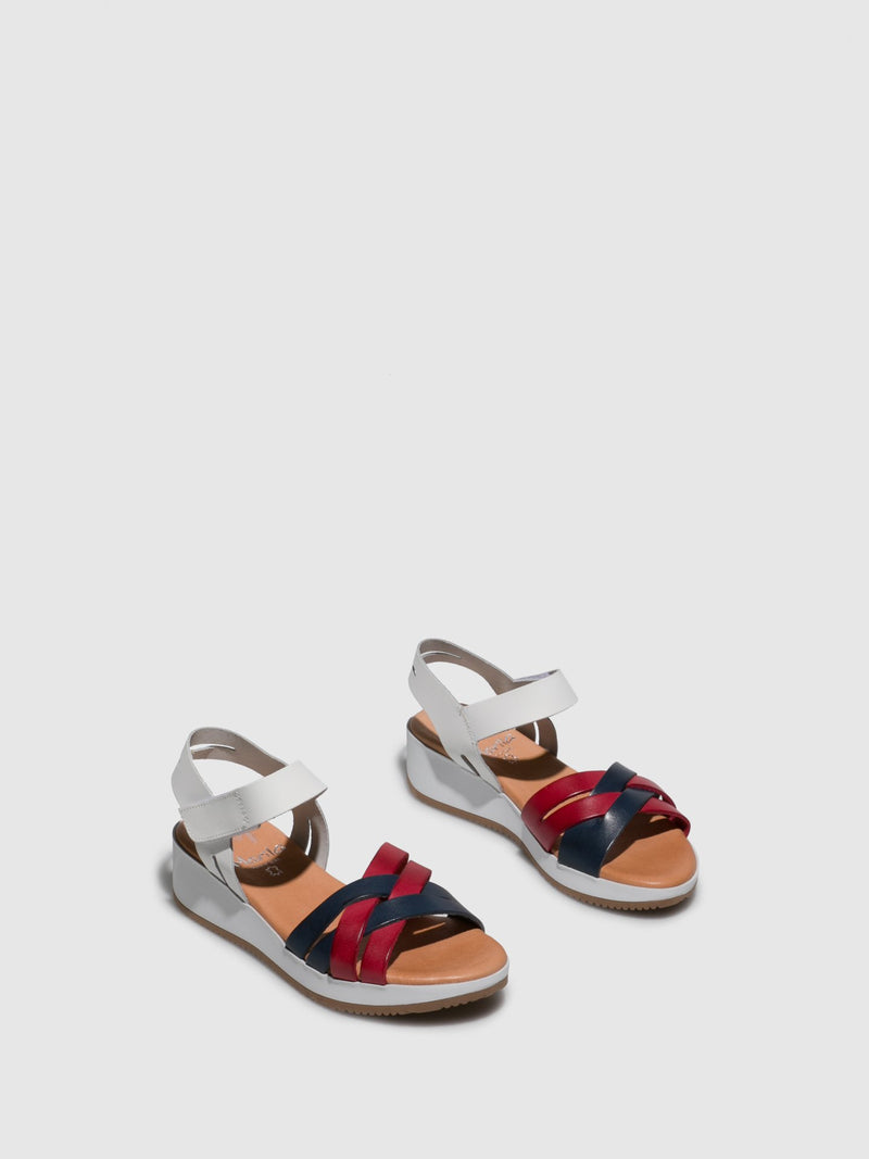 Red White Velcro Sandals