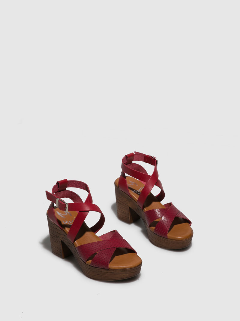Marila Shoes Red Crossover Sandals