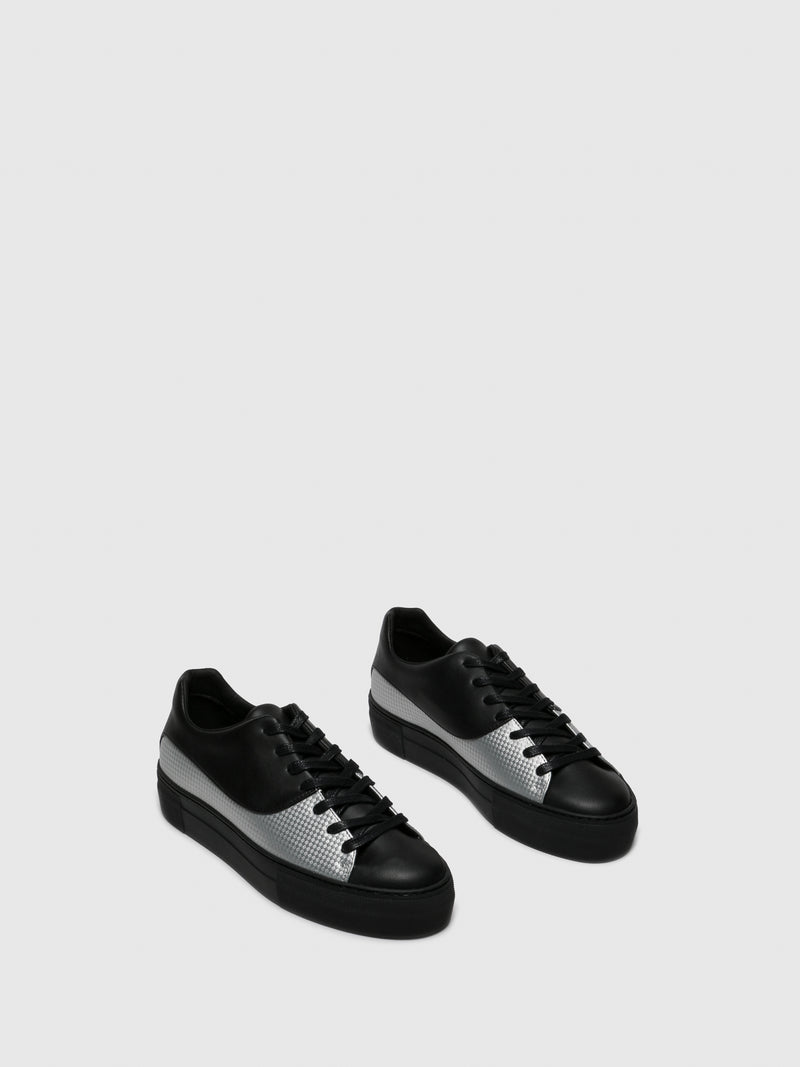 Gloss Black Platform Trainers