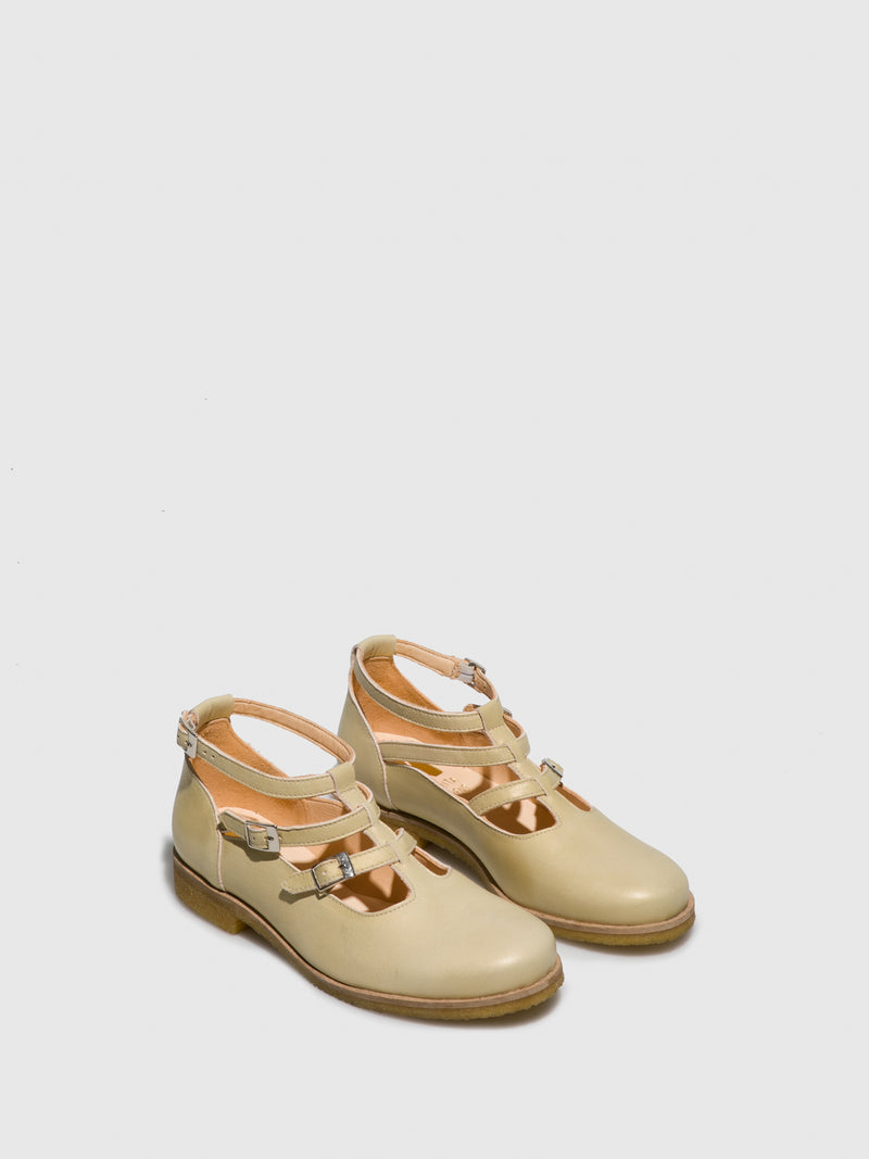Yellow White Flat Shoes