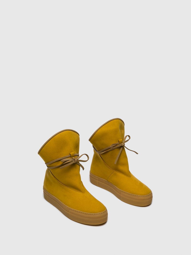 Yellow Suede Platform Boots