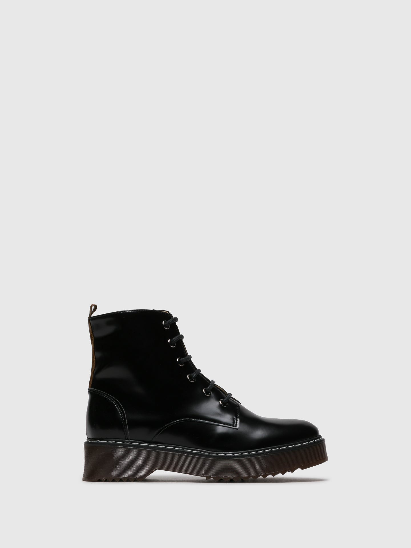 NAE Black Lace-up Ankle Boots