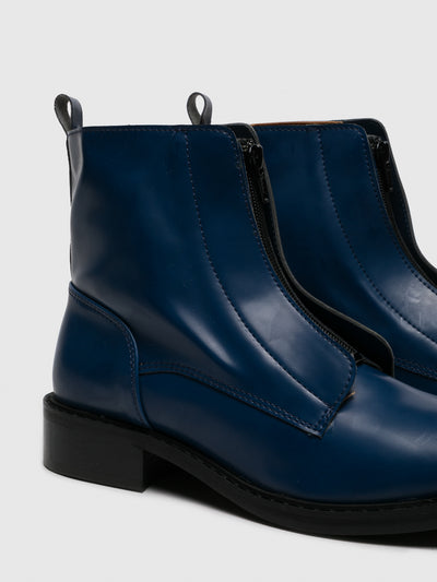 NAE Vegan Shoes Blue Zip Up Ankle Boots