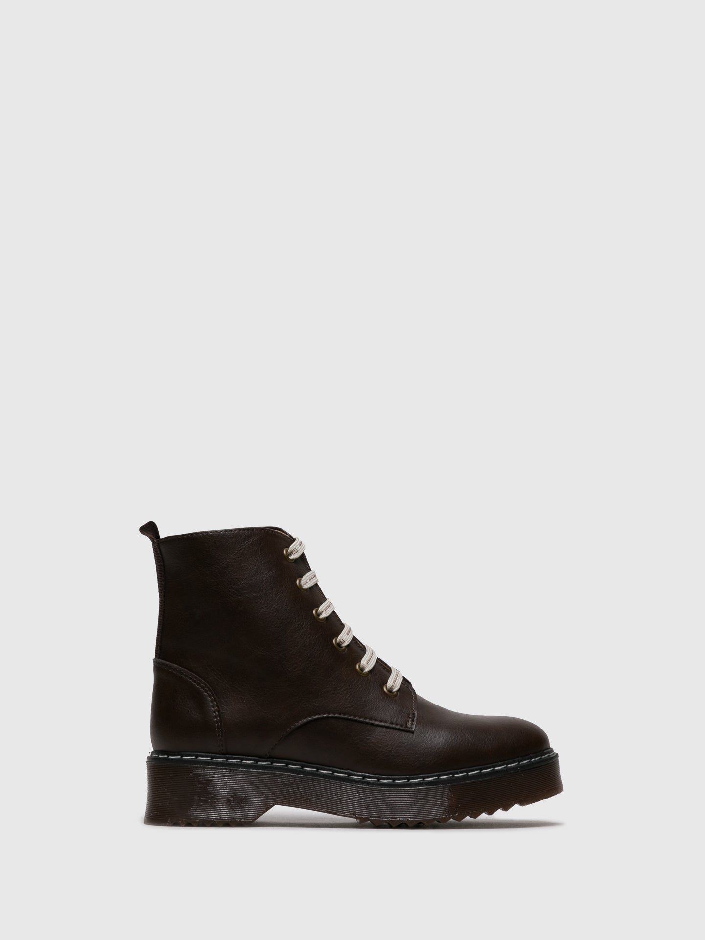 NAE Vegan Shoes Brown Lace-up Ankle Boots