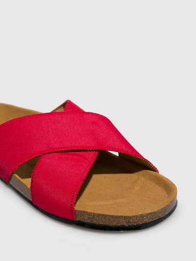 NAE Vegan Shoes Red Crossover Sandals