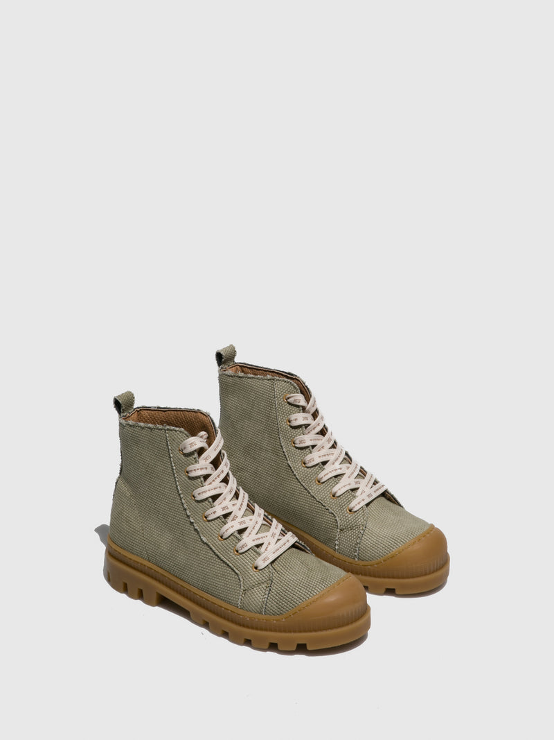 NAE Vegan Shoes Green Lace-up Boots