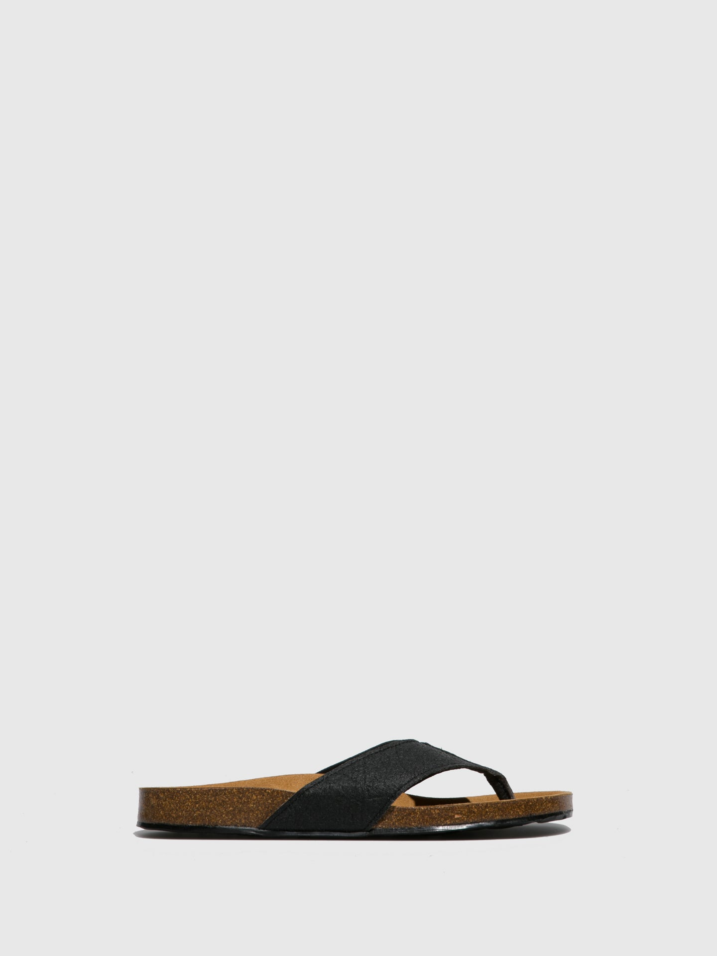 NAE Vegan Shoes Black T-Strap Sandals