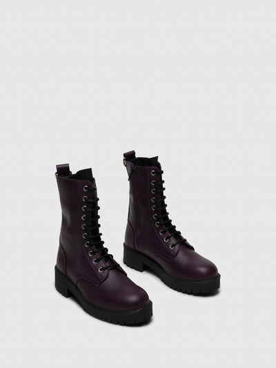 NAE Vegan Shoes Purple Zip Up Boots