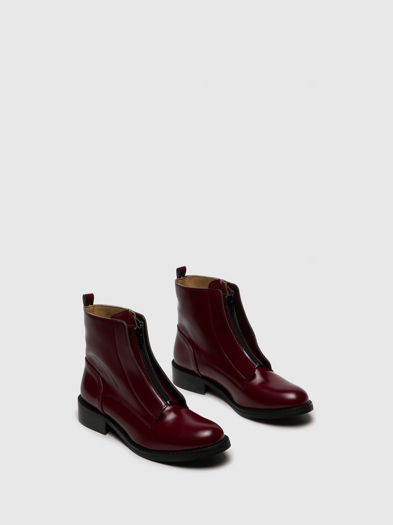 NAE Vegan Shoes DarkRed Zip Up Ankle Boots