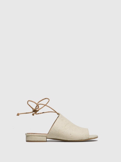 NAE Vegan Shoes White Lace-up Sandals