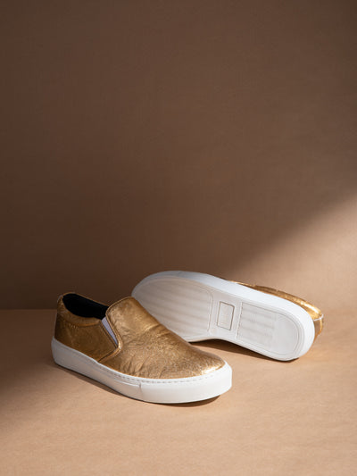 NAE Vegan Shoes Gold Elasticated Shoes