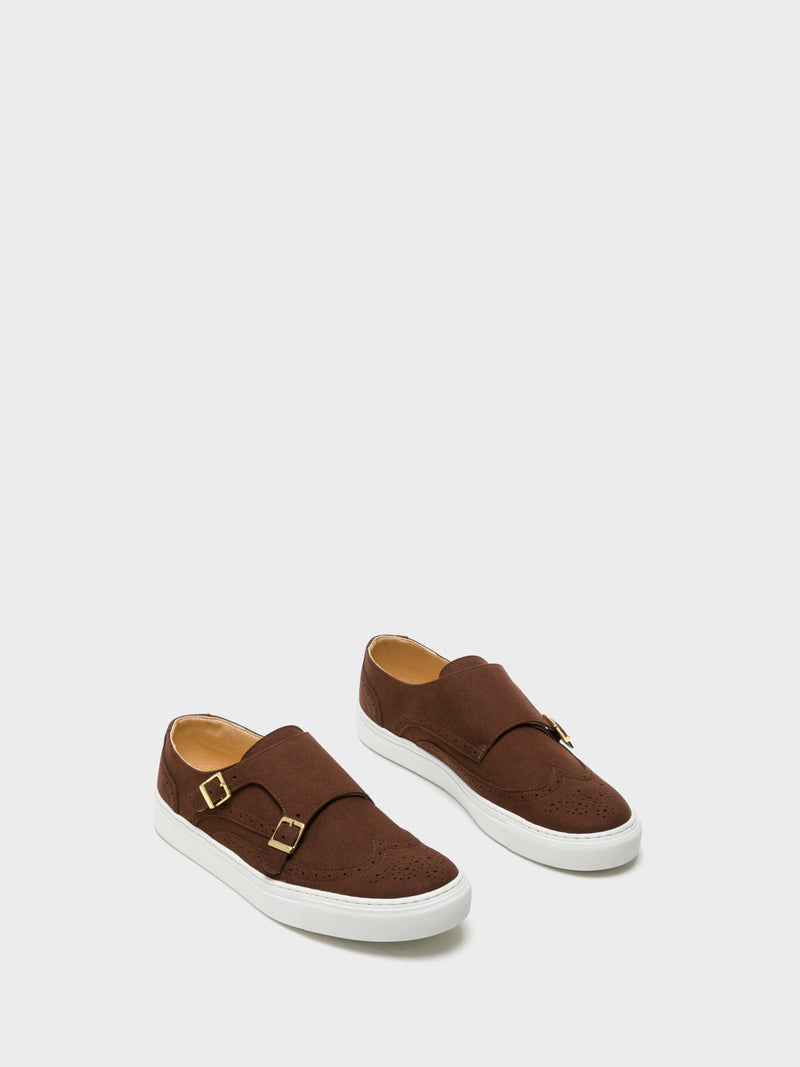 NAE Vegan Shoes Brown Appliqués Trainers