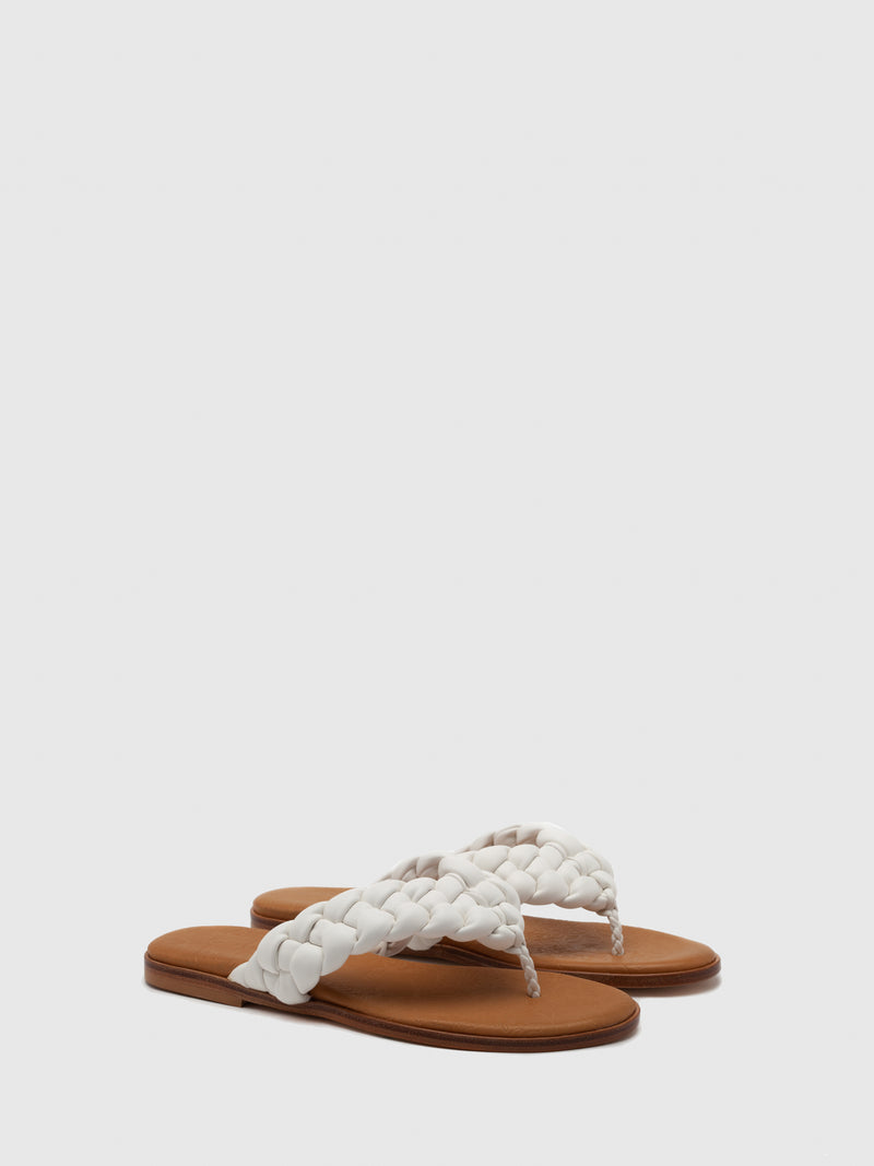 Only2Me White Leather Braided Sandals
