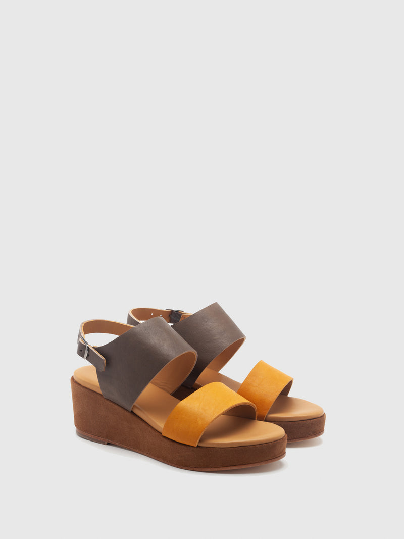 Only2Me Yellow Brown Mix Platform Sandals