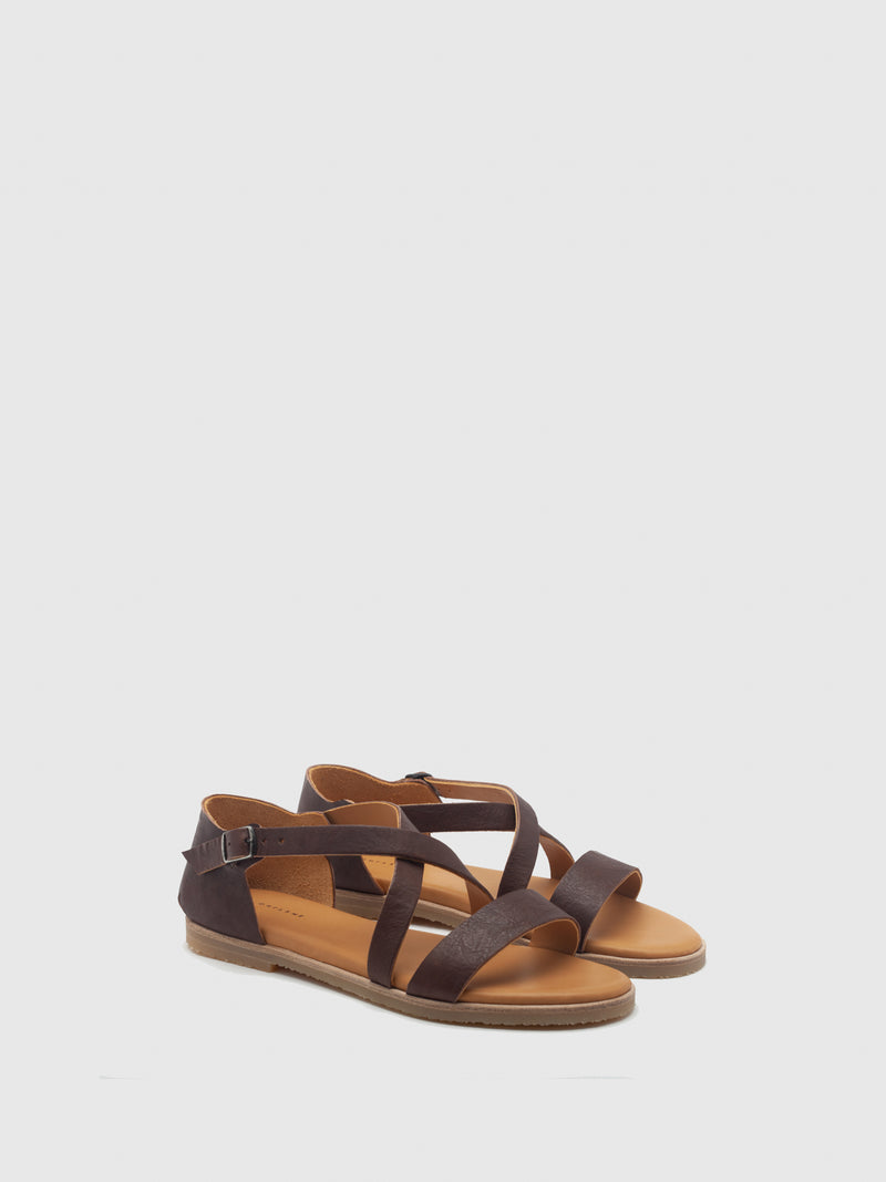 Only2Me Maroon Leather Strappy Sandals
