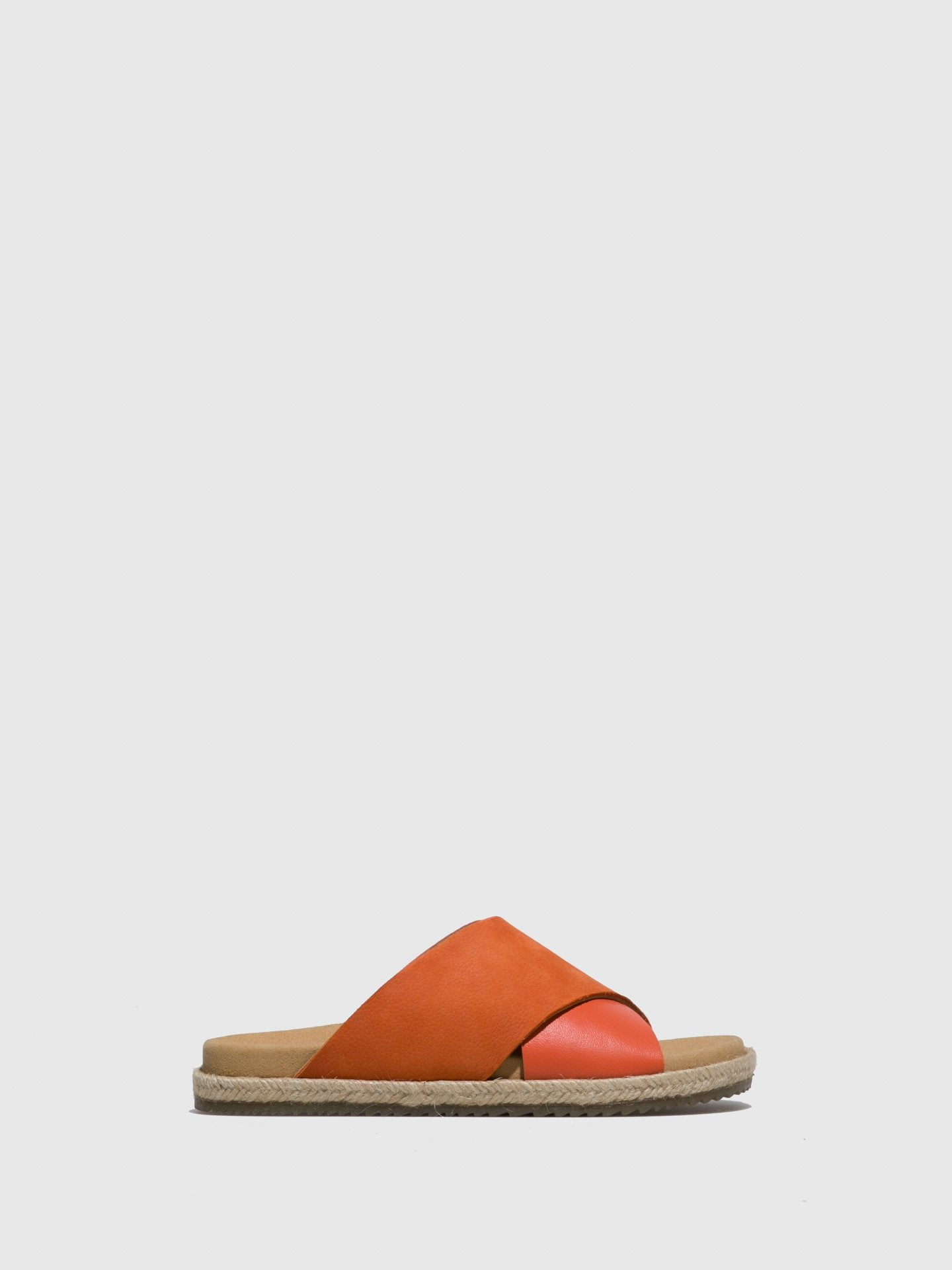 Only2me Orange Leather Casual Slides