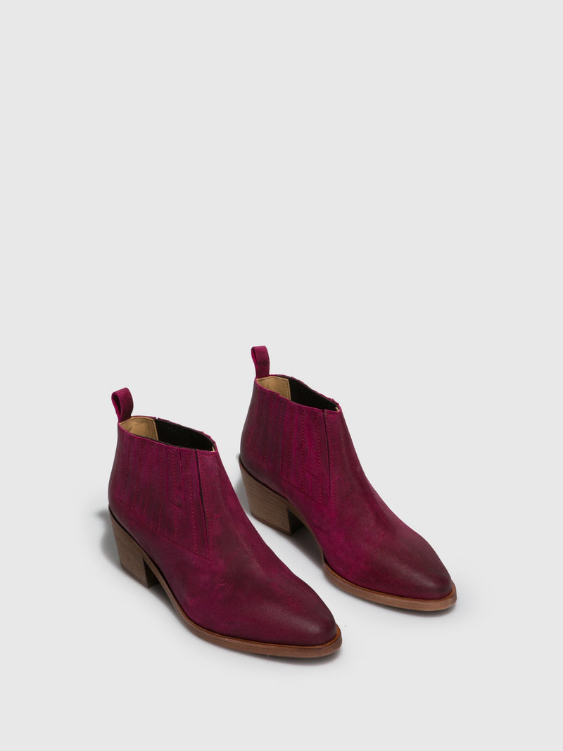 Pink Leather Elasticated Ankle Boots