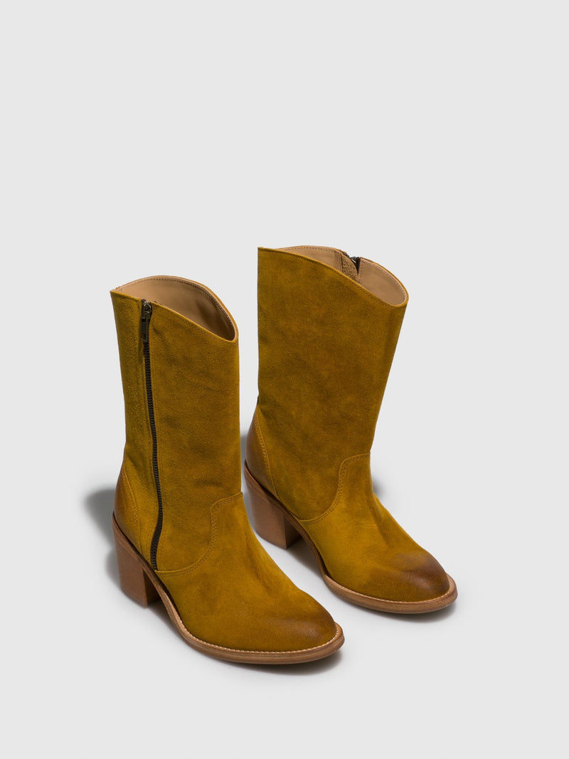 Yellow Zip Up Boots