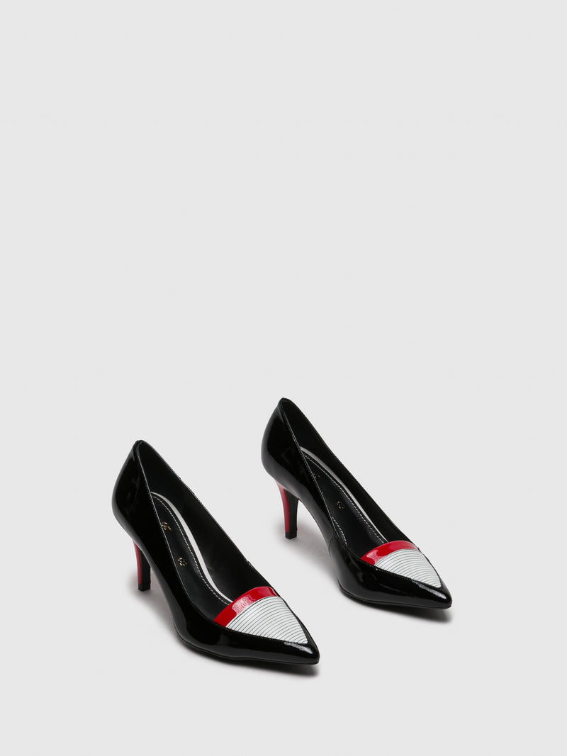 PARODI PASSION Black White Pointed Toe Shoes