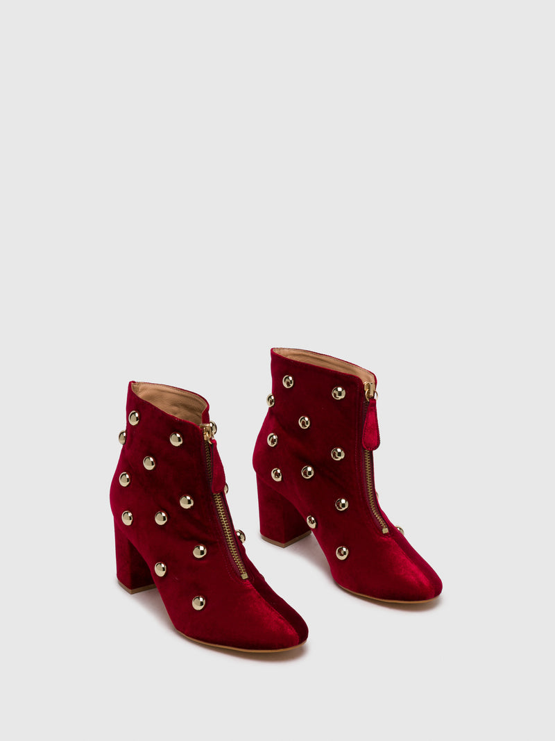 DarkRed Studded Ankle Boots
