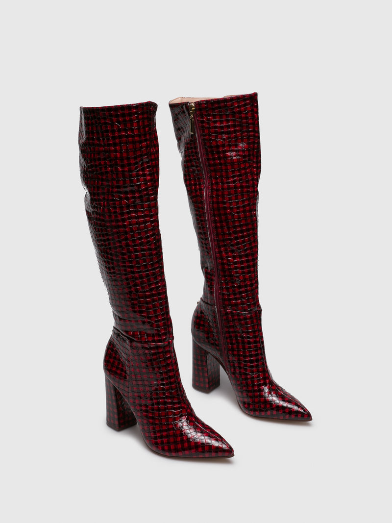 DarkRed Knee-High Boots