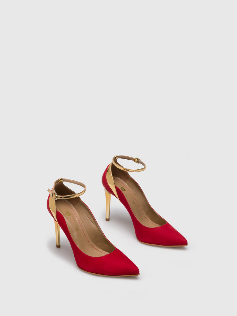 PARODI PASSION Red Ankle Strap Pumps