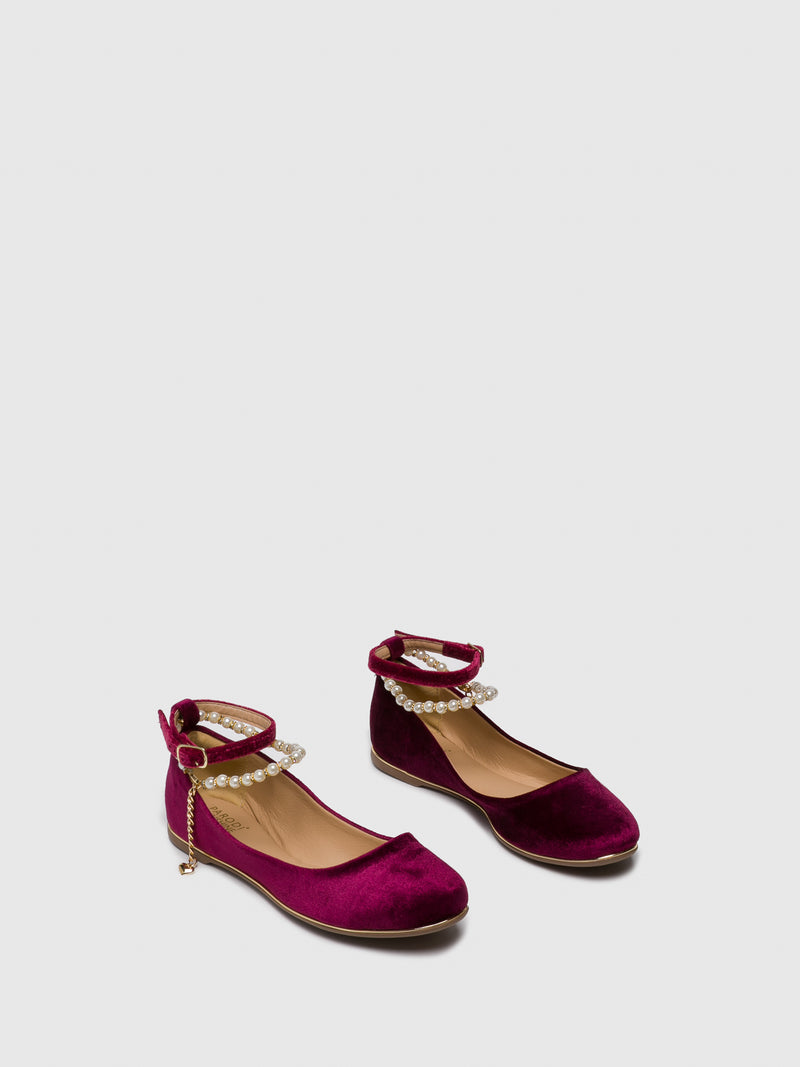 PARODI SUNSHINE DarkRed Buckle Ballerinas