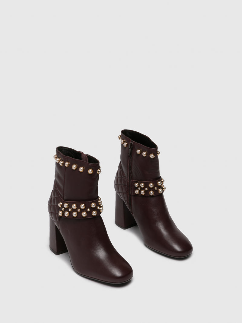 PARODI SUNSHINE DarkRed Zip Up Boots