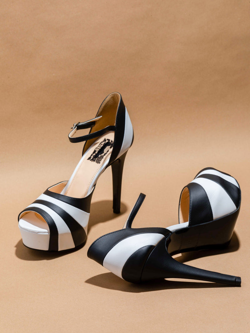 Black White Ankle Strap Shoes