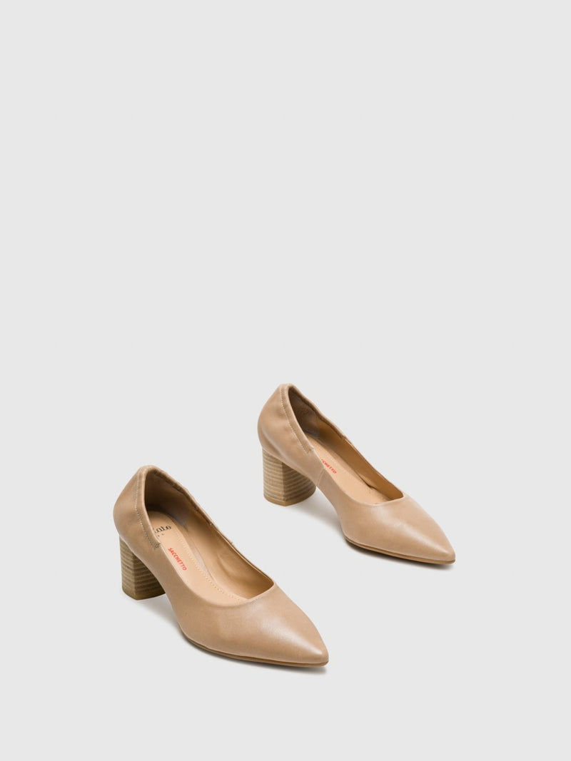 Beige Round Toe Pumps Shoes