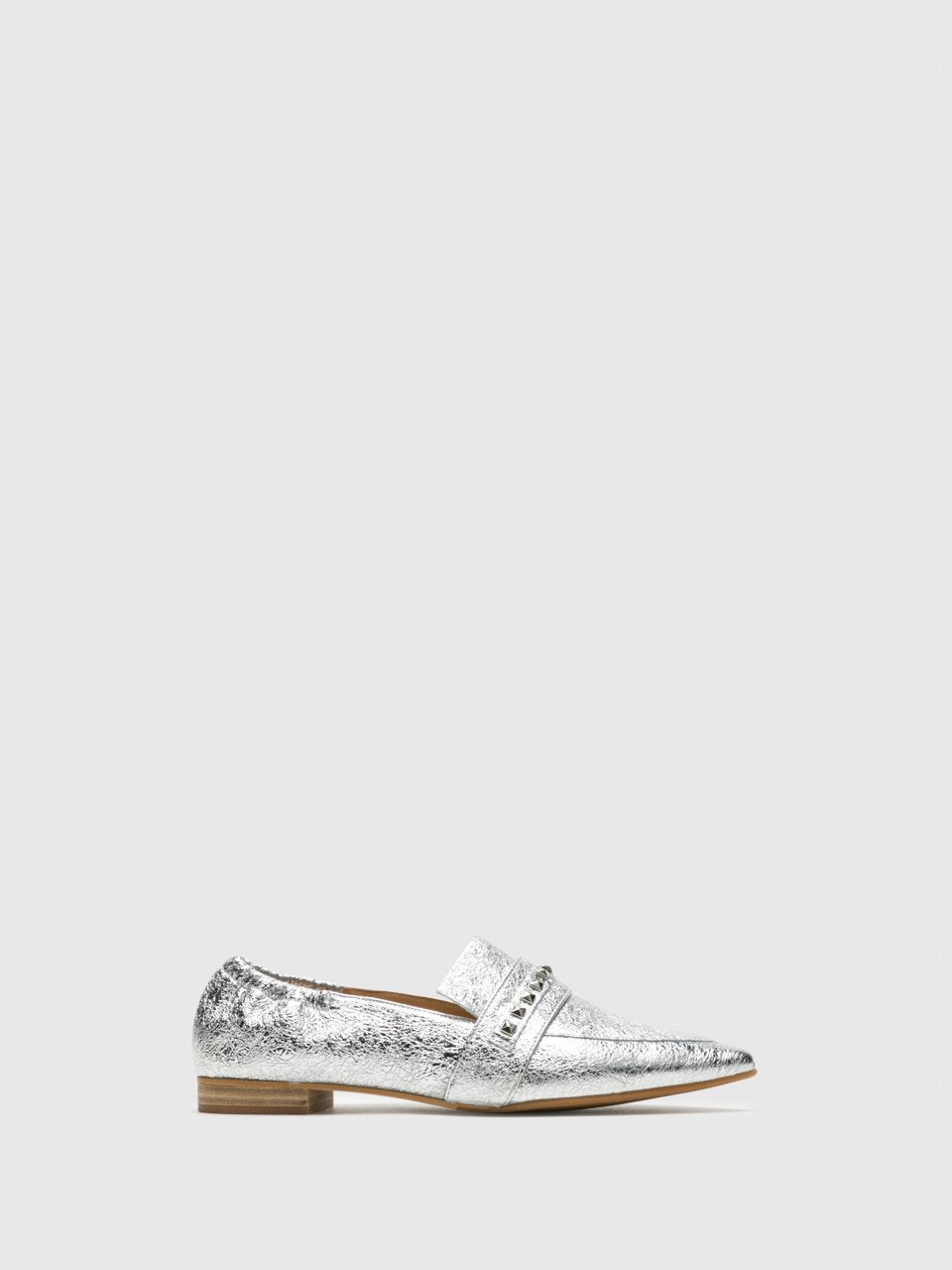 Perlato Silver Pointed Toe Shoes