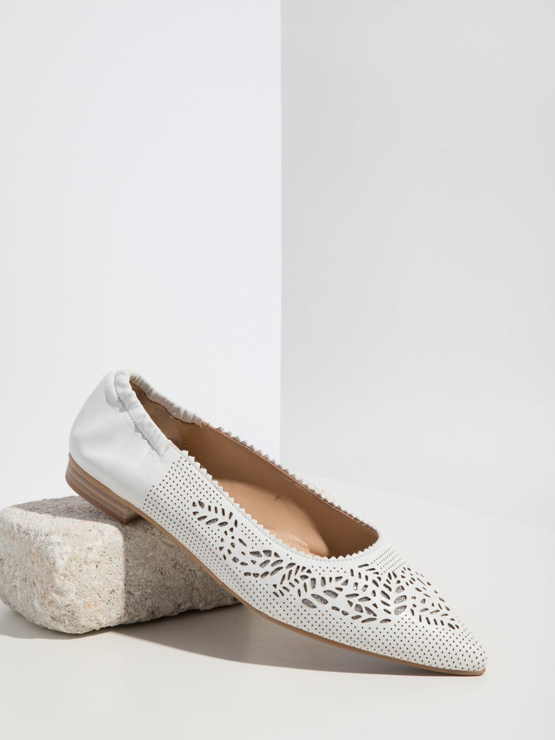 White Pointed Toe Ballerinas