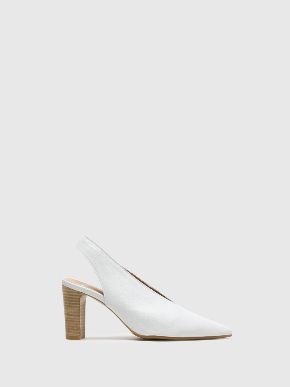 Perlato White Sling-Back Pumps Shoes