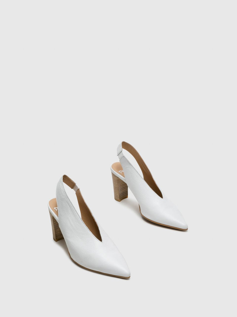 White Sling-Back Pumps Shoes