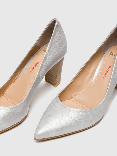 Perlato Silver Chunky Heel Shoes