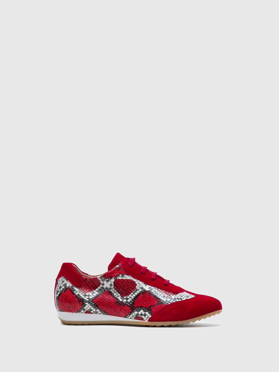 Perlato Red Lace-up Trainers