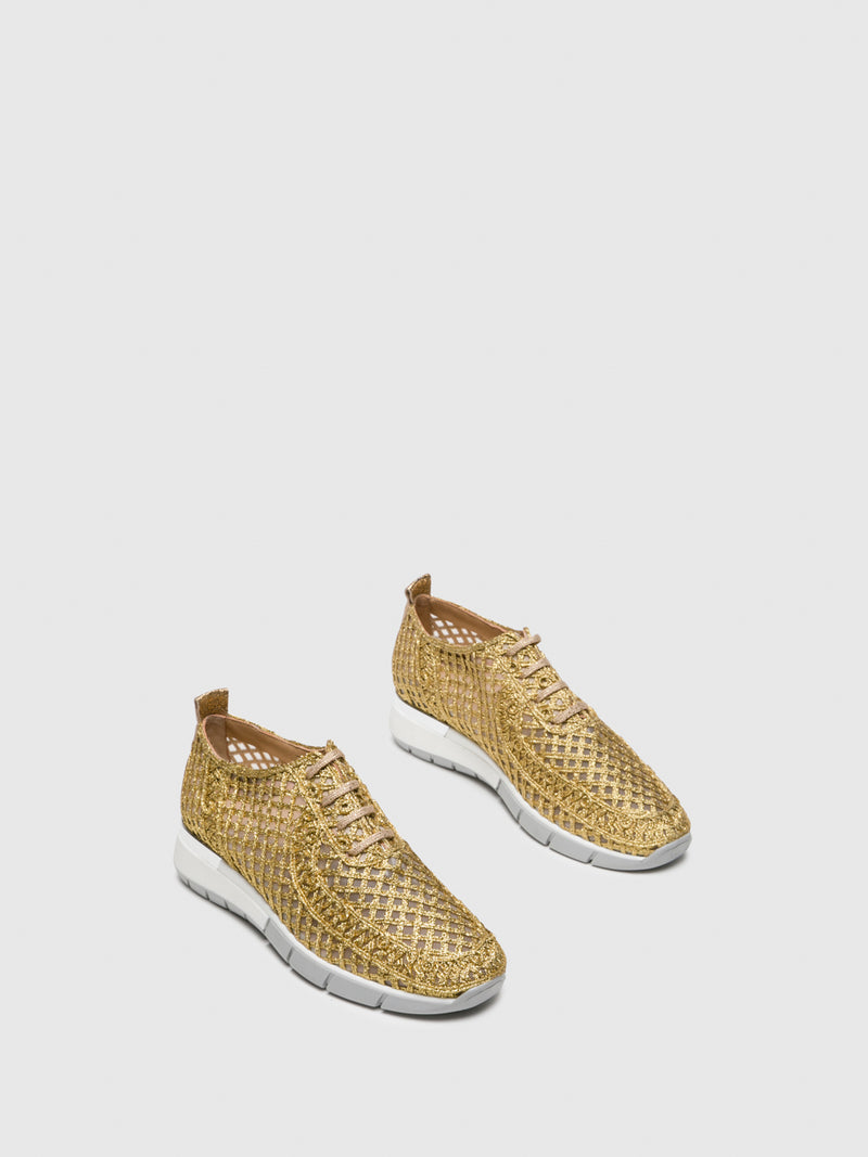 Gold Lace-up Shoes