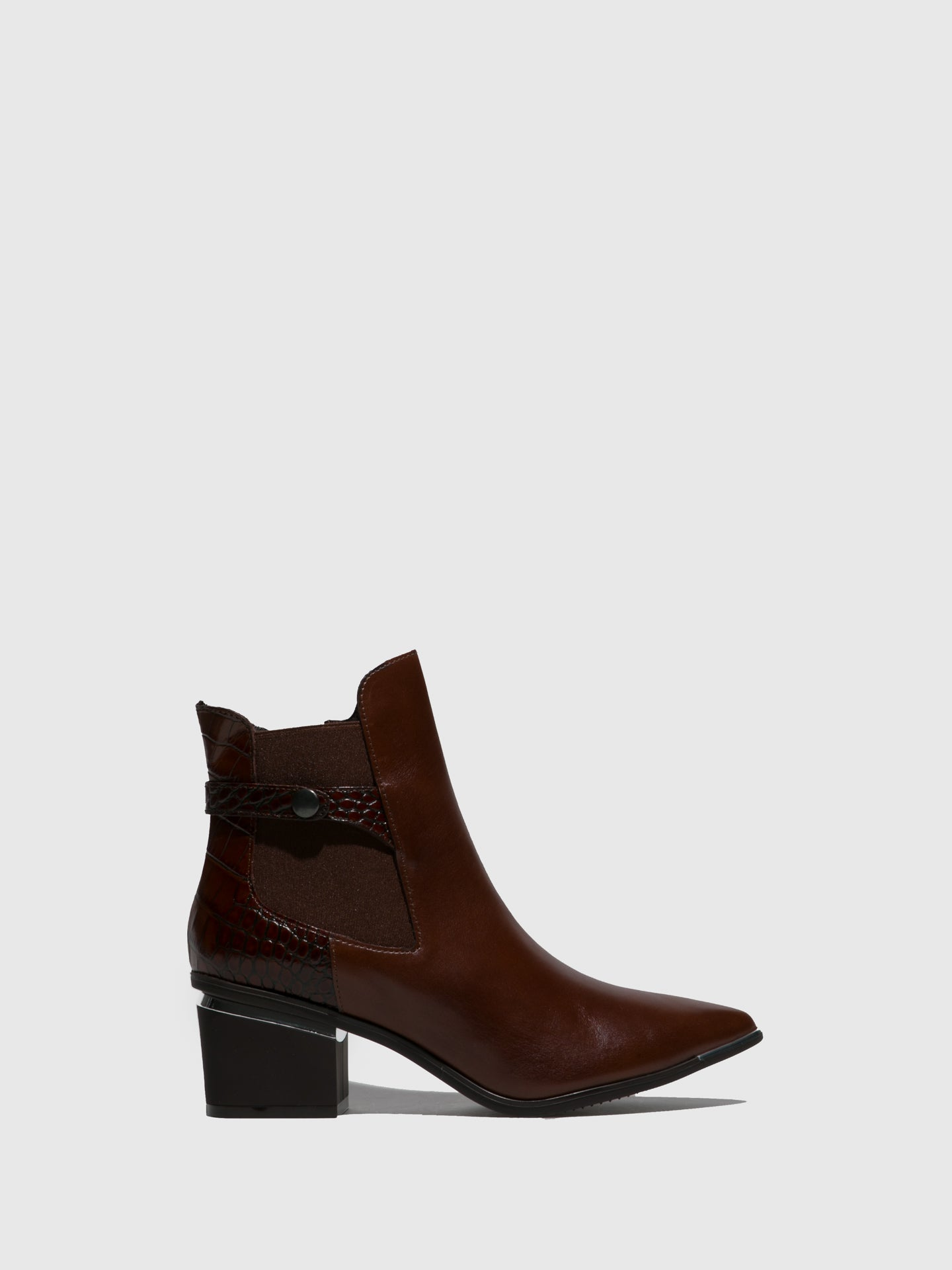 Perlato Brown Zip Up Ankle Boots