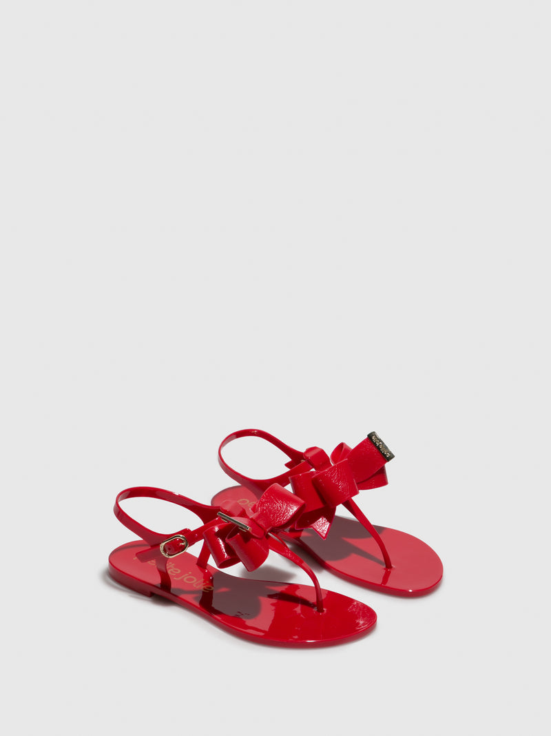Petite Jolie By Parodi Red Flat Sandals